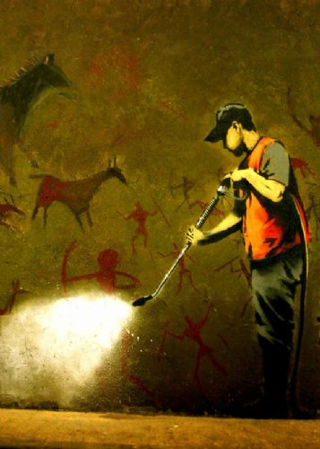 BANKSY - CAVE PAINTINGS canvas print - self adhesive poster - photo print